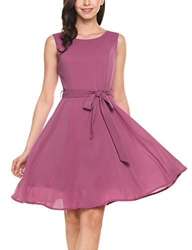 (Zeagoo Women's Chiffon Sleeveless A Line Cocktail Party Dress(Pink Purple,M))
