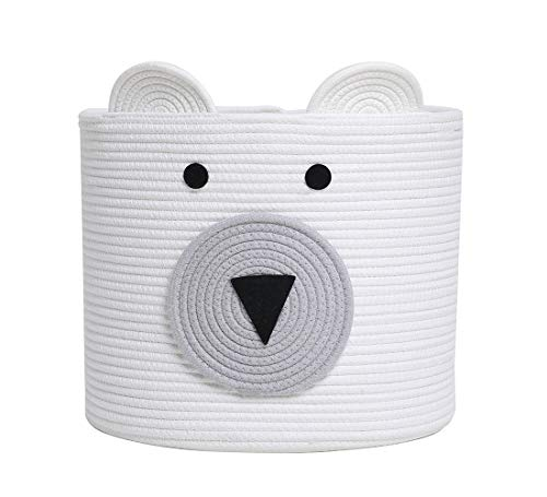 Bear Basket, Animal Basket, Large Cotton Rope Basket, Large Storage Basket, Woven Laundry Hamper, Toy Storage Bin, for Kids Toys Clothes in Bedroom, Baby Nursery, White Bear