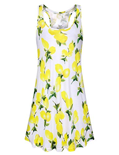 Viracy Yellow Dresses for Women, Ladies Bohemian Dresses Loose Fitting Floral Classic Elegant Tunic Dresses Miss Tropical Holiday Camping Faddish Sundress Trapeze Comfy Vacation Clothes Lemon White L
