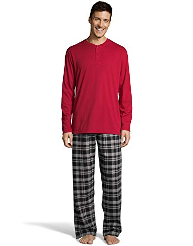 Hanes Men's Cotton Long Sleeve Shirt and Flannel Pajama Pants, XLarge, New Red