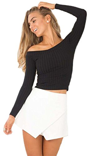 DREAGAL Womens Off Shoulder Long Sleeve Ribbed Top Black Large