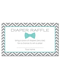 48 Bow Tie Baby Shower Raffle Cards (Teal)