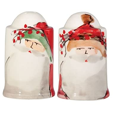Vietri Old St. Nick Salt & Pepper Shakers, Christmas Themed Kitchen Accessories