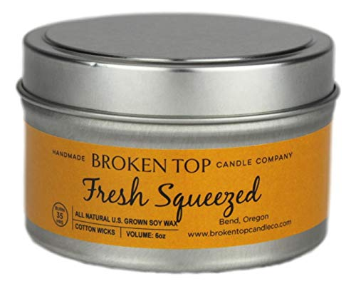 Fresh Squeezed 100% U.S. Grown Soy Wax Highly Scented Candle 6 oz. Metal Travel Tin with Lid