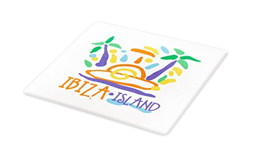 Lunarable Ibiza Cutting Board, Tropical Island Doodle with Summer Season Foliage and Palm Trees South Spain Europe, Decorative Tempered Glass Cutting and Serving Board, Large Size, Multicolor by Lunarable