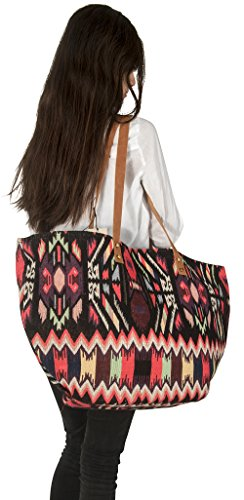 Tribe Azure Women Large Leather Everyday Shoulder Bag Tote Handbag Shopping Market Beach Blanket Books Laptop School Oversize Everyday Casual Fashion Durable Canvas Purse (Purse Extra Large Quilted)