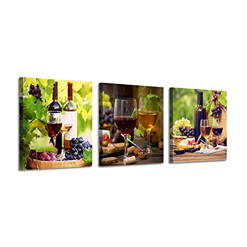 Canvas Wall Art for Kitchen : Reds Wine in Paris Artwork Paining Prints Decor Pictures (16'' x 16'' x 3