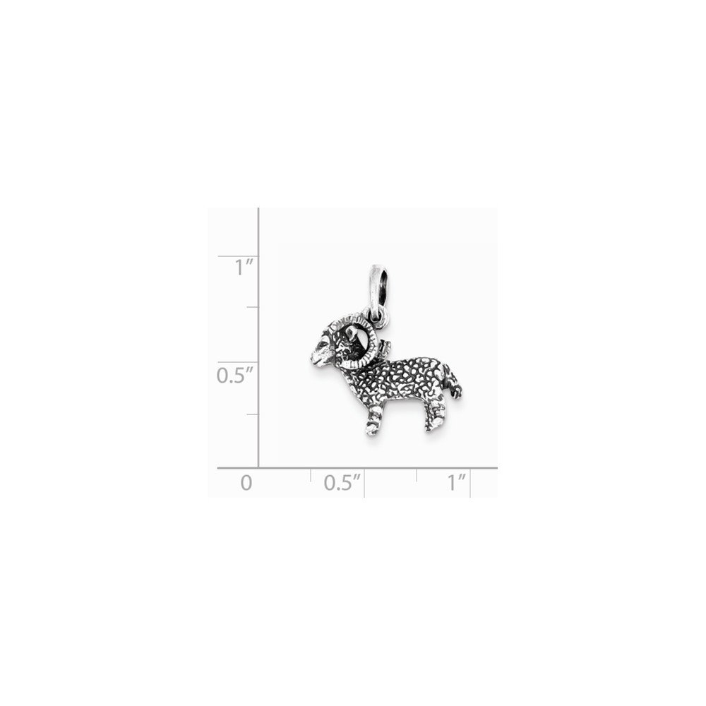 Jewel Tie 925 Sterling Silver Antiqued-Style Aries Pendant 19mm x 17mm