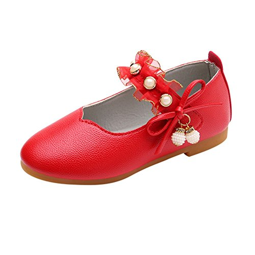 QueenMM  Children Girls Leather Mary Jane Flat Shoes Beautiful Princess Strap Ballerina Flats Red -