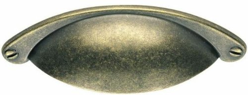 Traditional Half Moon Shaker Cup Pull Kitchen / Cabinet Handle With Faux Screws 64mm Hole Centres - Antique Brass Finish by Carlisle - Moon Half Appliance Handle