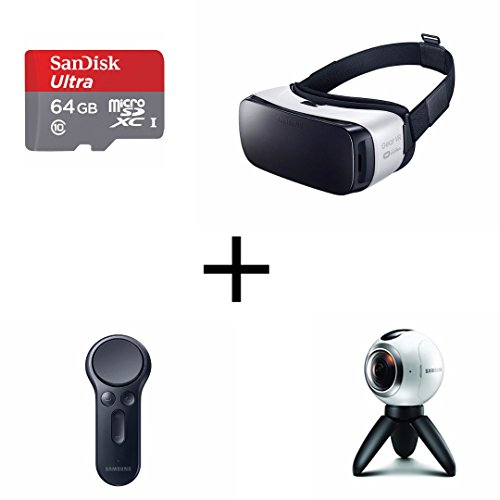 Samsung Gear 360 Real 360° High Resolution VR Camera, Samsung Gear VR Headset, Samsung Gear VR Controller & SanDisk Ultra 64GB microSDHC ALL IN ONE BUNDLE by WCI