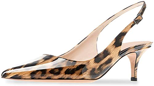 (Ayercony Sandals for Woman, Kitten Heel Pumps Pointed Toe Shoes Slip On Sandal for Dress Leopard Print Size 6 US)