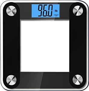 Balancefrom High Accuracy Plus Digital Bathroom Scale with Backlight LCD and Step-On Technology, Black