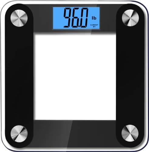BalanceFrom High Accuracy Plus Digital Bathroom Scale with 3.6' Extra Large Dual Color Backlight Display and'Smart Step-On' Technology [NEWEST VERSION] (Black)