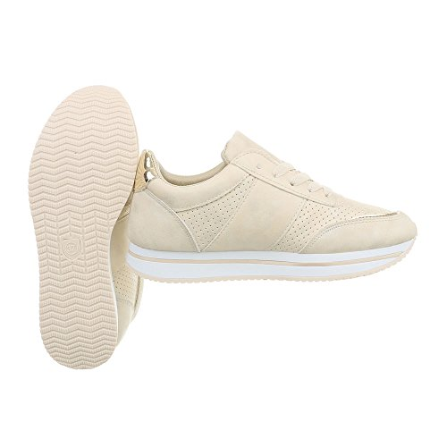 Espadrilles design Beige Chaussures Low Femme Mode Rl1715 Sneakers Plat Ital Baskets fRXq7RP