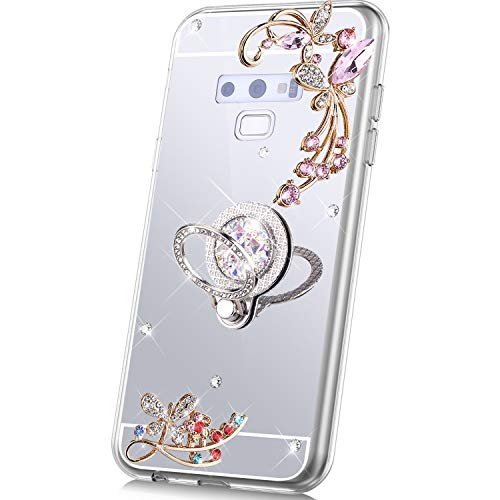 PHEZEN Case for Samsung Galaxy Note 9 Mirror Case,Bling Glitter Flowers Sparkle Rhinestone Mirror Back TPU Silicone Case Cover with Ring Kickstand Diamond Crystal Case for Galaxy Note 9,Silver