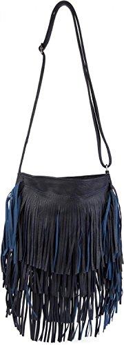 Stylebreaker Shoulder Bag With Long Fringes In A Modern Ethnic Style, Shoulder Bag, Handbag, Lady 02012113, Color: Dark Blue