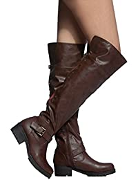 Womens Over The Knee Boots Folding Cuff Back Zipper Up Studded Motor Thigh High Riding Boots