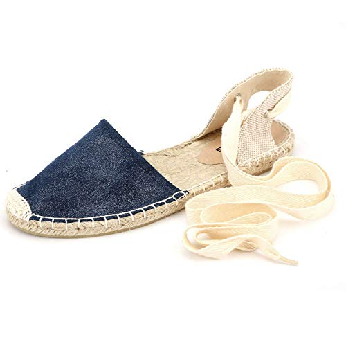 - diig Espadrille Sandals for Women, Lace Up Closed Toe Espadrilles Silver Brown Navy Light/Rose Gold Tie Up Flat Shoes (04-9-3 / Navy, US-9)