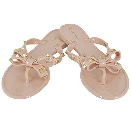 Tengyufly Womens Rivets Bowtie Flip Flops Jelly Thong Sandal Rubber Flat Summer Beach Rain Shoes(US9=EU41=25.5CM,Pink Beige) (Metallic Sandal Thong)