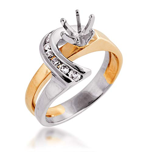 1/6 ct. tw. Semi-Mount Two-Tone Engagment Ring with Side-Swept Channel Set Band in 14K White and Yellow Gold