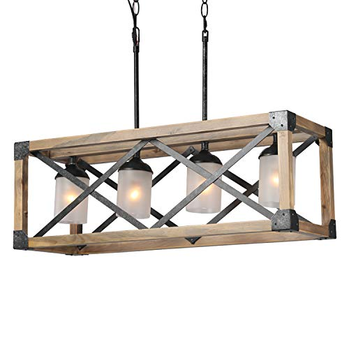 LALUZ 4-Light Wood Kitchen Island Lighting, Farmhouse Pendant Lighting for Dining Room