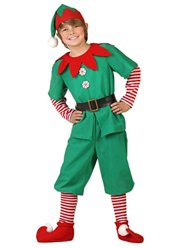 Kids Christmas Green and Red Elf Costumes Toyshop Santas Little Helper Festive Outfit elf Costumes for Kids (Boys, Large) (Santas Toyshop)