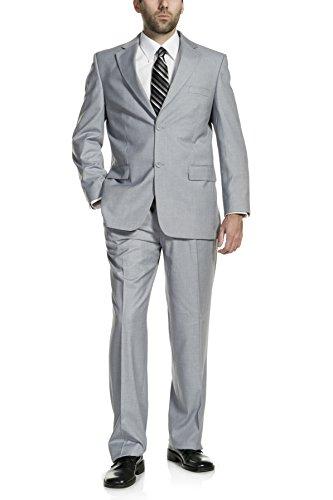 (P&L Men's Two-Piece Classic Fit Office 2 Button Suit Tuxedo Blazer Jacket & Pleated Pants Set Silver Gray)