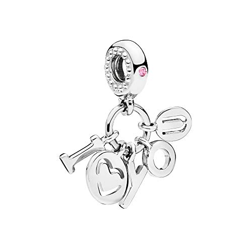I Love You Dangle Charm Authentic 925 Sterling Silver Heart Beads fit Pandora Bracelets (Pink Crystal)