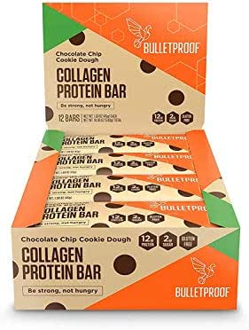 Bulletproof Bars Collagen Protein, Perfect Snack for Keto Diet, Paleo, Gluten-Free, For Men, Women, and Kids (Cookie Dough)