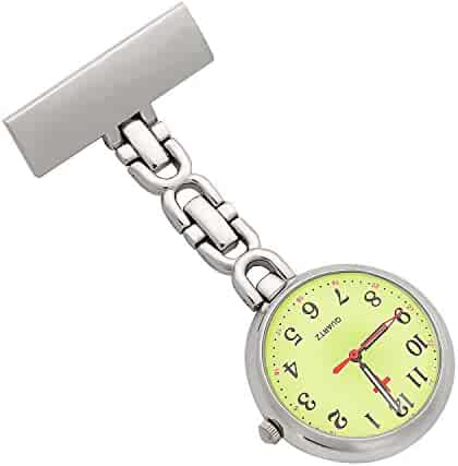 ShoppeWatch Nurse Lapel Pin Watch Infection Control 24hr Military Time Analog FOB Green Dial NW-232