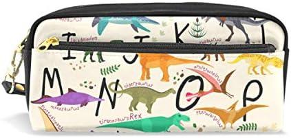 CPYang - Estuche de piel con cremallera para lápices, diseño de letras de animales y dinosaurios: Amazon.es: Oficina y papelería