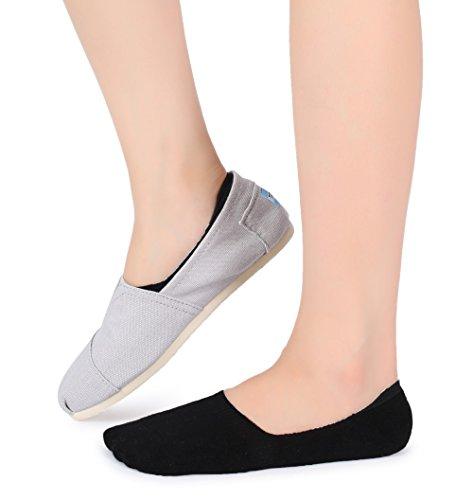 Eleray 5-Pack Women's Thick Cushion Cotton Casual Low Cut Falt Non-Slip No Show Liner Socks (Black) by eleray (Image #5)