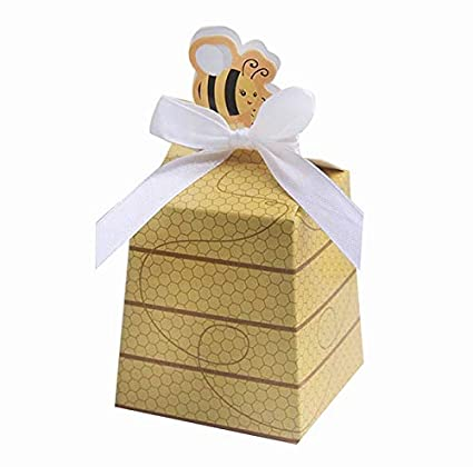 62952bd65e0b Amazon.com  IGBBLOVE 50pcs Bee Candy Boxes Beehive Baby Shower Favor ...