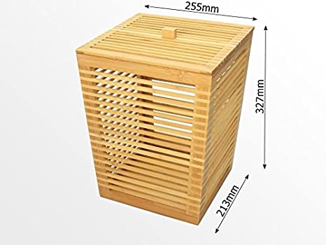 Papierkorb f/ür B/üro Badezimmer aus Bambus