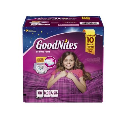 (GoodNites Bedtime Underwear for Girls (Size L/XL, 58 ct.))