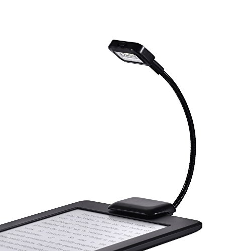 LOAMO Book Light Clip-On LED Reading Light Flexible Neck with 2 Levels of Lumen Intensity for Nook, eBook Readers, Tablet, Book, Textbook and More