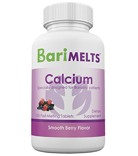 BariMelts Calcium Citrate, Dissolving Bariatric Vitamins, Natural Berry Flavor, GMO-Free Fast Melting Tablets, Gluten-Free Chewable Supplement for WLS