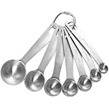 7 Pack Measuring Spoons - Stainless Steel Measuring Spoons - Baking Spoon Set with Loose-Leaf Ring for Easy Removal - Assorted Sizes 1/8 Teaspoon to 1 Tablespoon