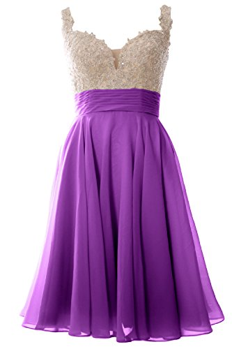 MACloth Women Straps Short Prom Dress Lace Chiffon Wedding Party Formal Gown (4, Amethyst) (80s Womens Fancy Dress)