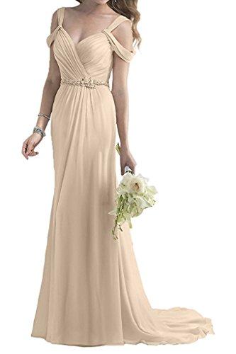 Kleider A Abendkleider mia Festlichkleider Chiffon Rock Lang Braut Zwei Traeger Linie Champagner Ballkleider Standsamt La TzgqZq