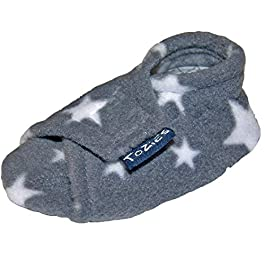 TOZIES Baby Toddler Boys Girls Soft Flexible Slippers Play Shoes Non Slip Soles Grey Stars