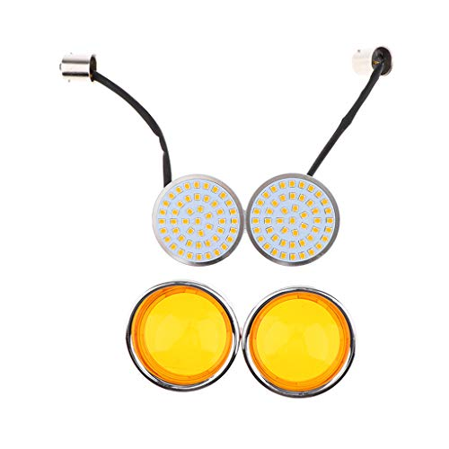 B Blesiya New LED Motorcycle Twin Turn Signal Front Rear Blinker Indicator-Orange,Universal Round Turn Signal Direction Lamp: