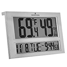MARATHON CL030040 Jumbo Indoor Digital Thermometer Hygrometer Humidity Monitor with Clock and Calendar - Batteries Included