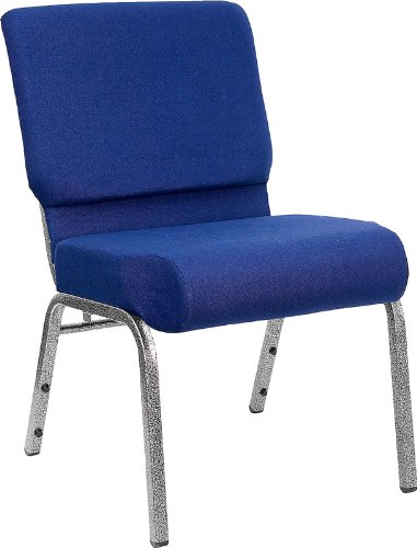 Flash Furniture HERCULES Series 21''W Stacking Church Chair in Navy Blue Fabric - Silver Vein Frame by Flash Furniture