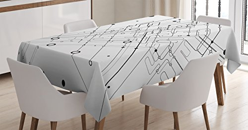 """Ambesonne Abstract Tablecloth, Technology Geek Inspired Modern Disc Cable Like Cool Design Artwork Print, Rectangular Table Cover for Dining Room Kitchen Decor, 60"""" X 84"""", White Charcoal"""