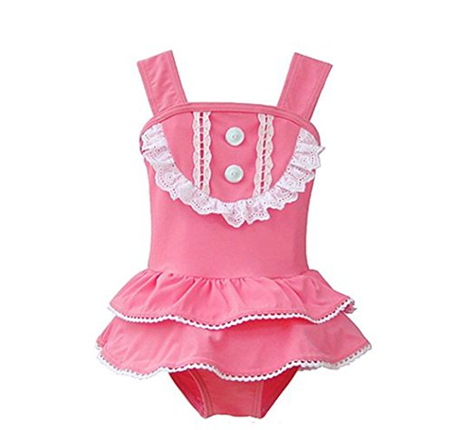 Tueenhuge Baby Girls Lace Ruffle Pink one Piece Bikini Swimsuit