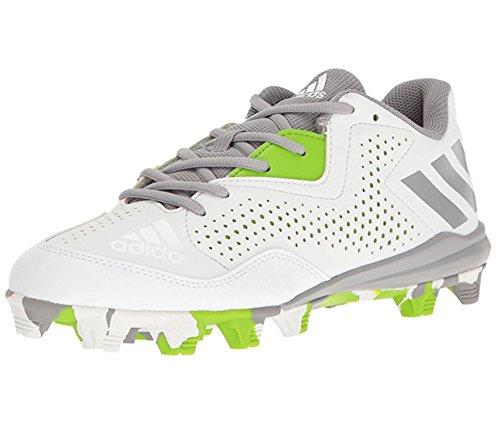 adidas Men's Freak X Carbon Mid Softball Shoe, White/Aluminum/Semi Solar Green, (6.5 M US) (Softball Shoe Mid)