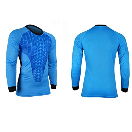 COOLOMG Men Pants M-3XL Soccer Keeper Football Goalkeeper Goalie Foam Padded Jersey Shirt Blue M (Foam Goalie)