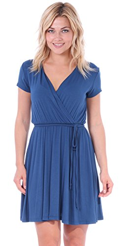 - Popana Women's Casual Summer Dress Midi Swing Faux Wrap Sundress Made in USA Teal Small